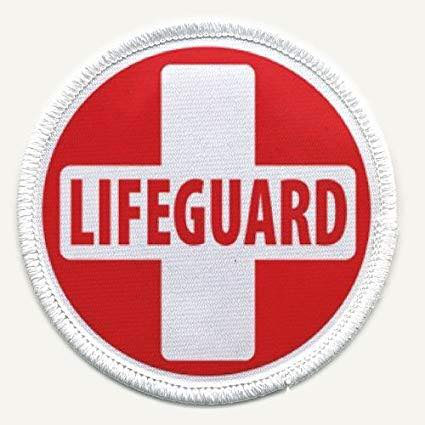 Red and White lifeguard badge