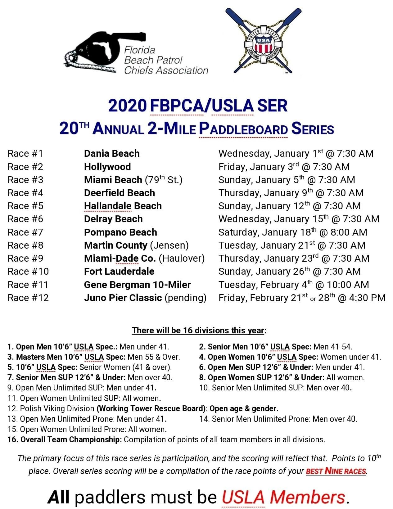 Calendar of events for USLA in 2020