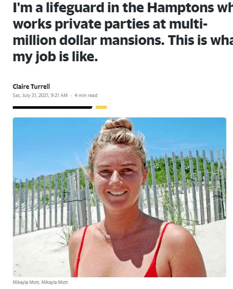 Lifeguard in Hamptions, NY